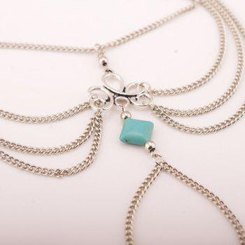 Punk Style Square Fake Turquoise Multilayered Anklet - SILVER