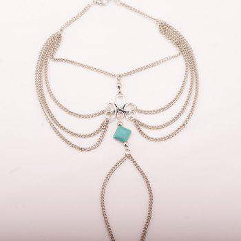 Punk Style Square Fake Turquoise Multilayered Anklet