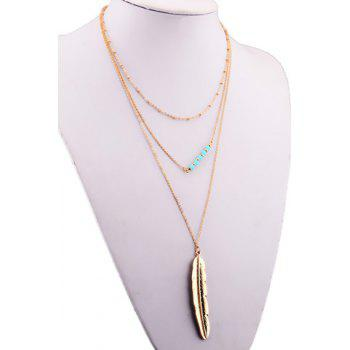 Metal Feather Multilayered Pendant Necklace