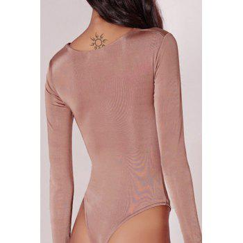 Sexy V-Neck Long Sleeve Ruched Cut Out Women's Bodysuit - PINK M