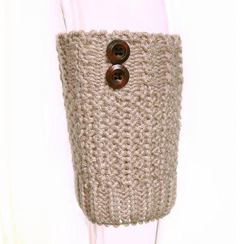 Pair of Chic Button Embellished Crochet Women's Knitted Boot Cuffs -  LIGHT KHAKI