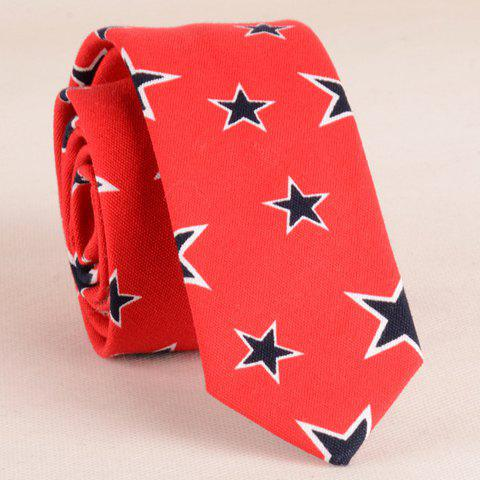 Stylish Five-Pointed Star Pattern 5CM Width Men's Red Tie - RED