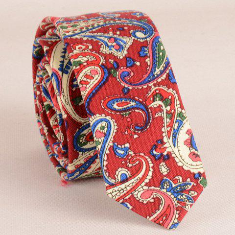 Stylish Ethnic Paisley Pattern 5CM Width Red Tie For Men