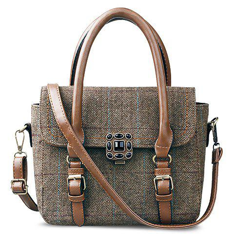 Vintage Strap and Plaid Design Tote Bag For Women - BROWN