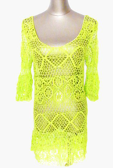 Sexy 3/4 Sleeve Low Cut Cut Out Women's Cover Up - NEON GREEN ONE SIZE(FIT SIZE XS TO M)