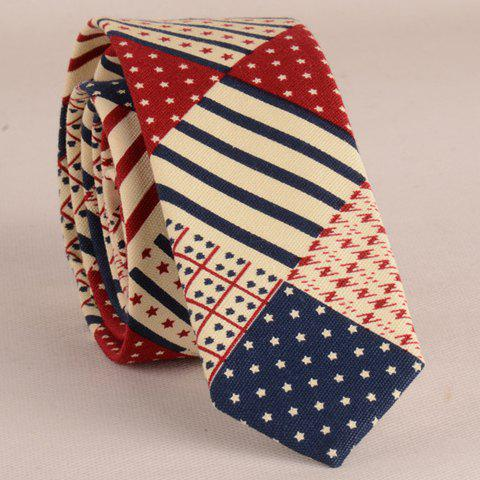 Stylish Star and Stripe Pattern Patchwork 5CM Width Men's Tie - COLORMIX