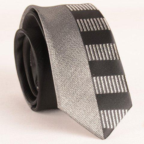 Stylish Silver Thread Wide Stripe Pattern 6CM Width Men's Black Tie - BLACK