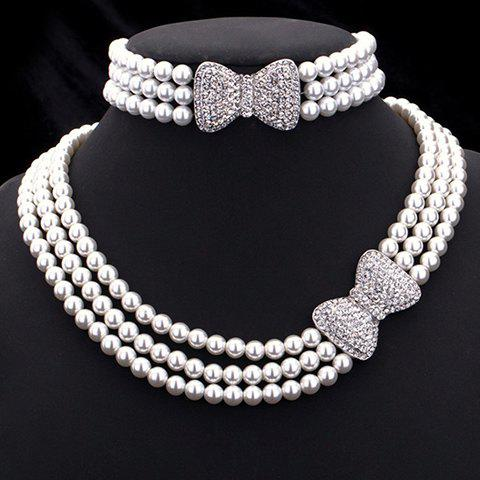 Faux Pearl Rhinestoned Bowknot Jewelry Set - WHITE