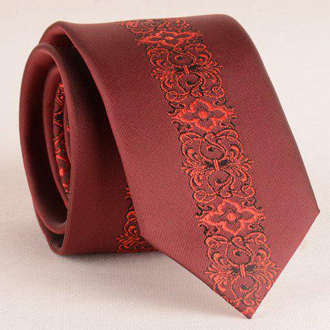 Stylish Retro Palace Jacquard Middle 6CM Width Wine Red Tie For Men -  WINE RED