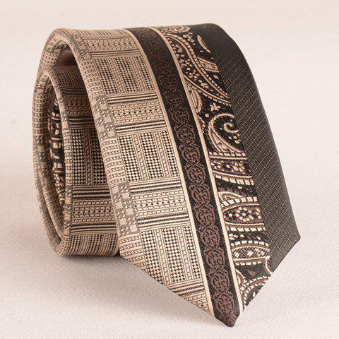 Stylish Retro Paisley Jacquard Patchwork 6CM Width Men's Tie - COFFEE