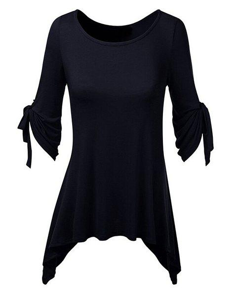 Stylish Scoop Neck Solid Color Ruched 3/4 Sleeve Irregular T-Shirt For Women - PURPLISH BLUE L