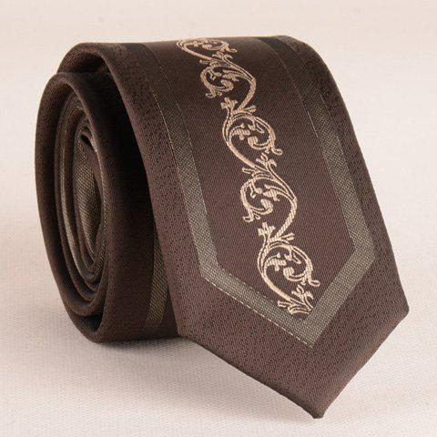Stylish Middle Plant Jacquard 6CM Width Coffee Color Tie For Men - COFFEE