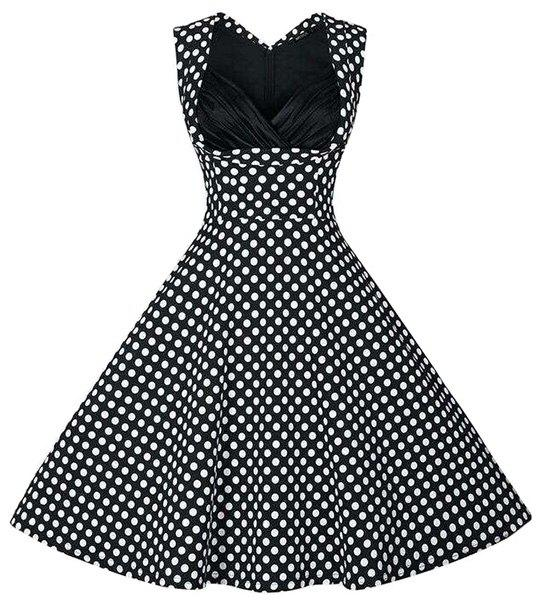 Retro Style Women's Sweetheart Neck Polka Dot Print Dress - BLACK M