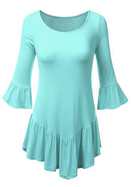 Vintage Solid Color Scoop Neck 3/4 Bell Sleeve Flounced T-Shirt For Women - LIGHT BLUE XL