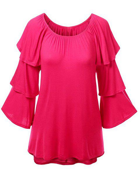 Charming Solid Color Layered 3/4 Sleeve T-Shirt For Women - ROSE XL
