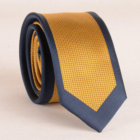 Stylish Ginger Yellow Match Deep Blue 6CM Width Men's Tie - GINGER