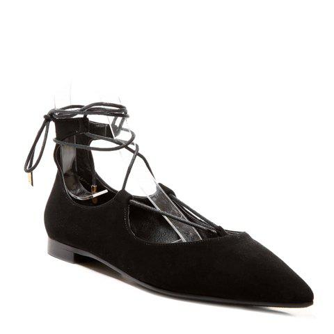 Fashionable Suede and Black Color Design Women's Flat Shoes - BLACK 37