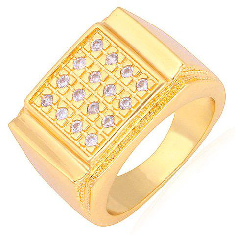 Rhinestoned Square Shape Ring - GOLDEN ONE-SIZE