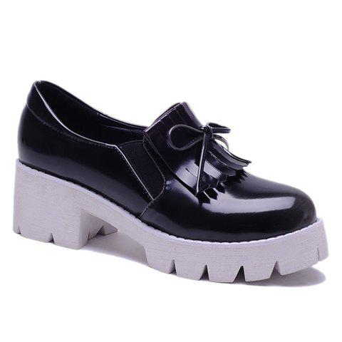 Casual Fringe and Patent Leather Design Platform Shoes For Women - BLACK 36