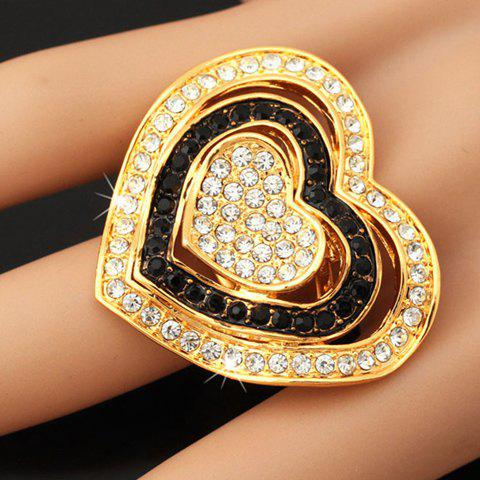 Graceful Rhinestoned Layered Heart Hollow Out Ring For Women - ONE-SIZE GOLDEN