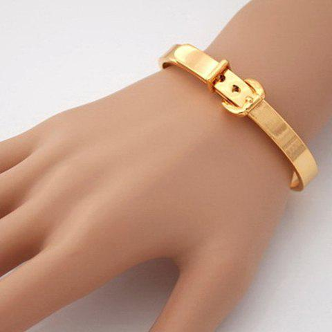 Buckle Belt Shape Stainless Steel Cuff Bracelet - GOLDEN
