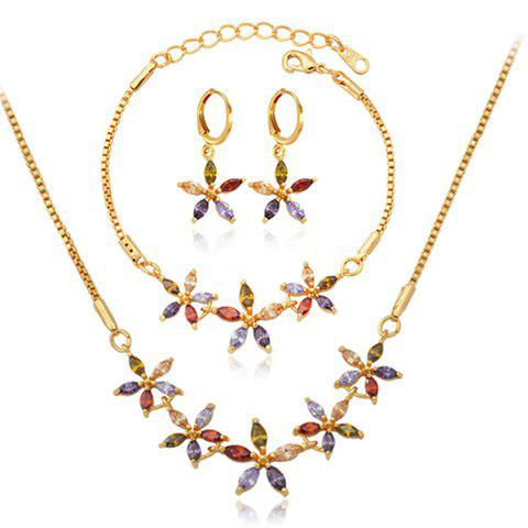A Suit of Exquisite Faux Crystal Flower Shape Necklace Bracelet and Earrings For Women - GOLDEN