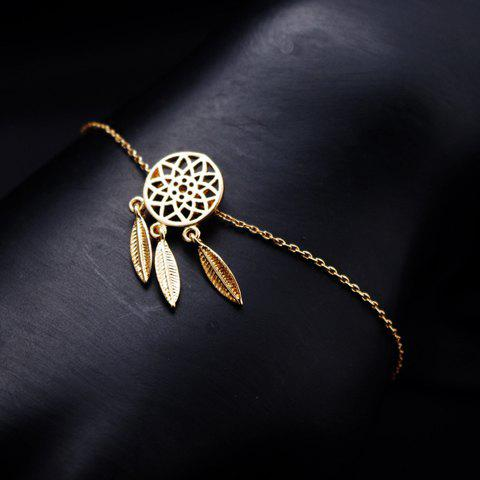 Round Hollow Out Feather Pendant Bracelet - GOLDEN