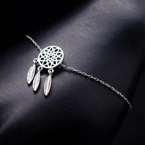 Round Hollow Out Feather Pendant Bracelet - SILVER