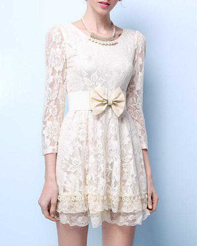 Chic 3/4 Sleeve Scoop Neck Cut Out Women's Lace Dress - OFF WHITE XL