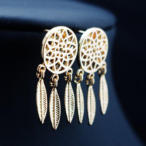 Pair of Hollow Out Round Feather Drop Earrings - GOLDEN