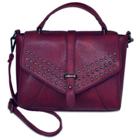 Stylish PU Leather and Rivets Design Tote Bag For Women