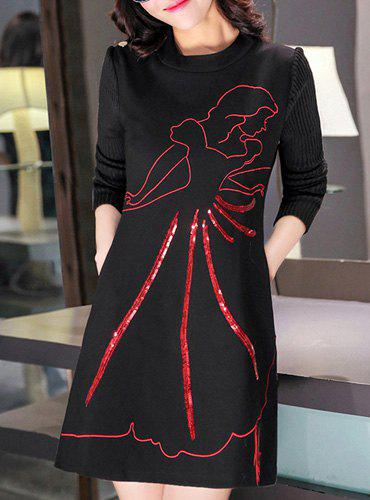 Stylish Round Neck Long Sleeve Printed Knitted Dress For Women - RED/BLACK 2XL