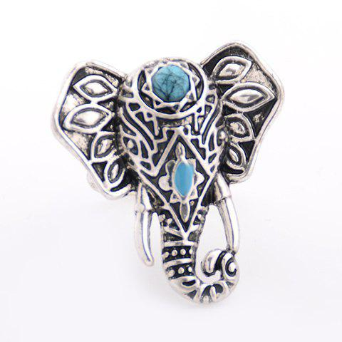 Faux Turquoise Elephant Ring - SILVER ONE-SIZE