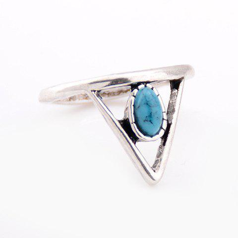 Triangle Faux Turquoise Hollow Out Ring - SILVER ONE-SIZE