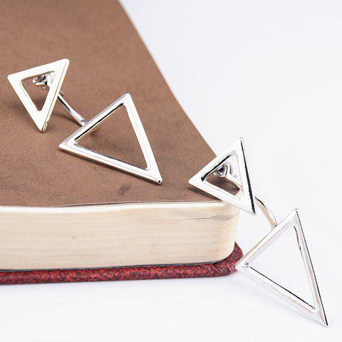 Asymmetric Triangles Hollow Out Earrings - SILVER