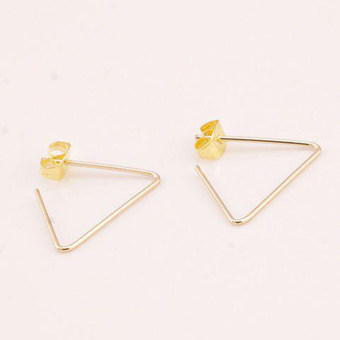 Pair of Triangle Hollow Out Earrings - GOLDEN