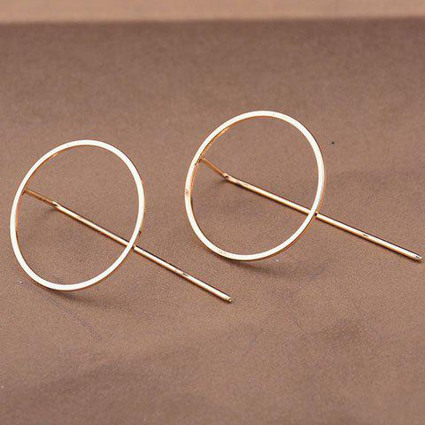 Pair of Round Hollow Out Earrings - GOLDEN