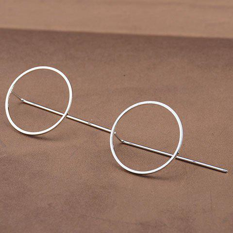 Pair of Round Hollow Out Earrings - SILVER
