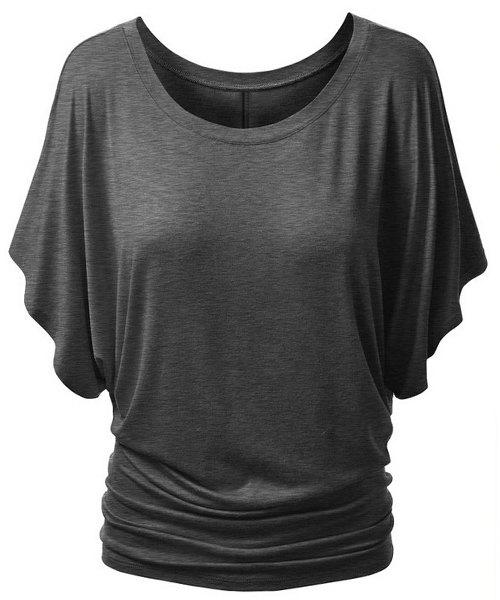 Sweet Women's Scoop Neck Candy Color Half Sleeve T-Shirt - GRAY XL
