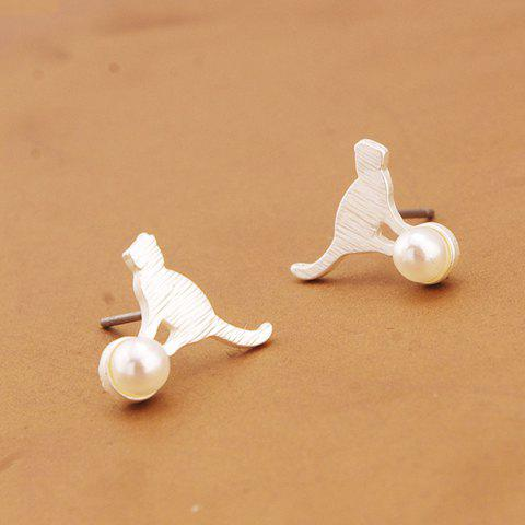 Pair of Sweet Faux Pearl Kitten Shape Earrings For Women - SILVER