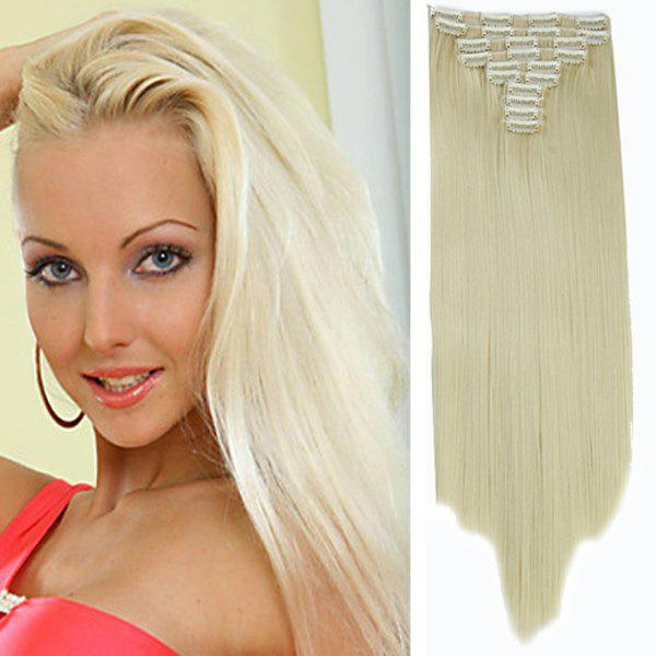 Fashion High Temperature Fiber Long Straight Hair Extensions For Women - BLONDE