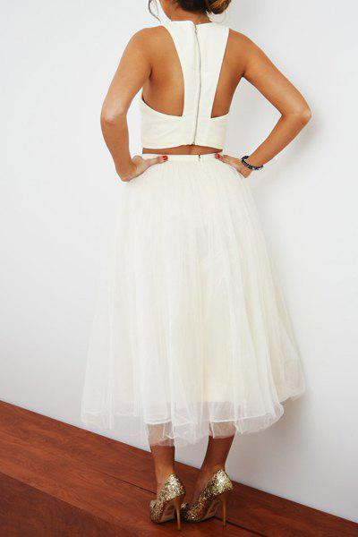 Sleeveless Crop Top and Gauze White Ball Skirt Twinset - WHITE S