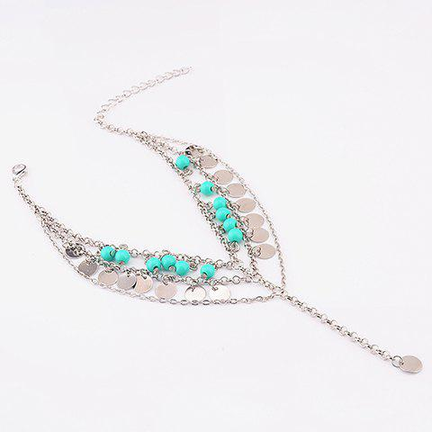 Beads Sequins Pendant Belly Dance Anklet - SILVER