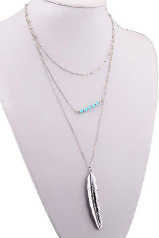 Metal Feather Multilayered Pendant Necklace - SILVER