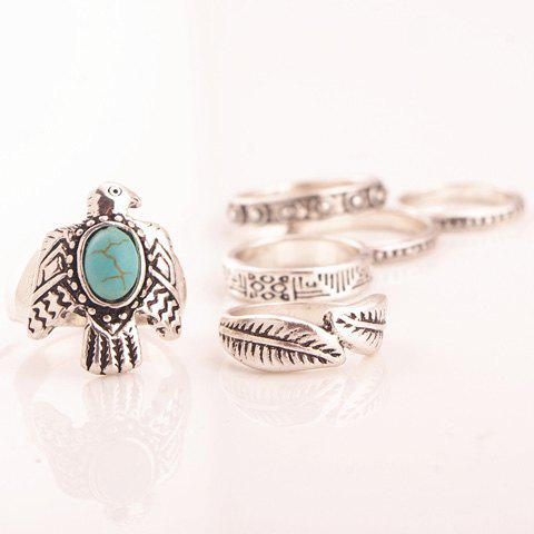 A Suit of Chic Turquoise Dove Leaf Carving Rings For Women