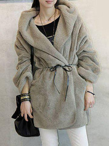 Loose-Fitting Fashionable Hooded Women's Coat - GRAY ONE SIZE