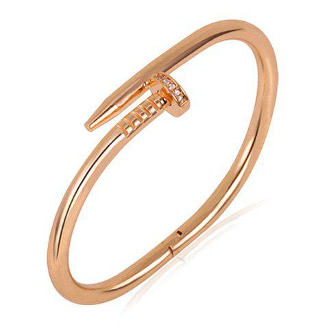 Nail Shape Plated Cuff Bracelet - ROSE GOLD