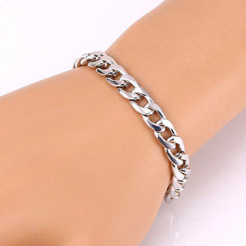 Chic Plated Solid Color Chunky Bracelet For Women - WHITE GOLDEN