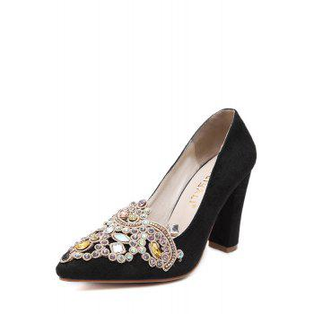 Gorgeous Colorful Rhinestone and Suede Design Pumps For Women - 38 38