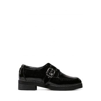 Preppy Buckle and Black Design Flat Shoes For Women